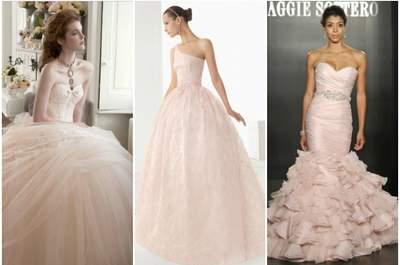 Espectaculares vestidos de novia de color rosa de las colecciones 2013