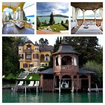 Die Schlossvilla Miralago in Kärnten, Österreich, bietet die perfekte Kulisse für eine Traumhochzeit am See. In dem weitläufigen Garten  lässt sich eine wunderbare Feier im Freien bei gleichzeitig absoluter Privatsphäre abhalten.