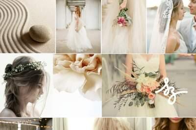 Collage de inspiración para decorar tu boda en color arena y suaves texturas