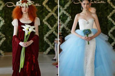 3 célèbres créateurs présentent leurs robes de mariée de couleur 2013
