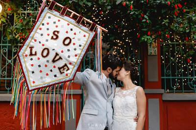 Casamento temático de Nathália & Vitor: fotos MARAVILHOSAS de um baile de carnaval colorido!