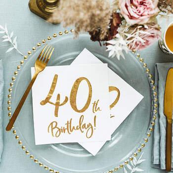 Servilletas 40 años oro 20 unidades- Compra en The Wedding Shop