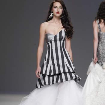 Vestido de noiva com top preto e cinza, da colecção Jordi Dalmau 2013.