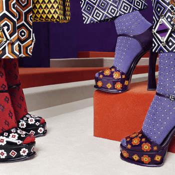 Anche la scarpe per Prada è un trionfo di colori e stampe. Foto: www.prada.com