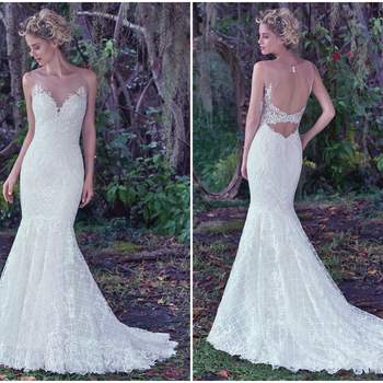"An intricate lattice lace with a double keyhole back and illusion tulle neckline adds a modern twist to this classic fit and flare wedding dress. Finished with covered buttons over zipper closure.   <a href=""https://www.maggiesottero.com/maggie-sottero/analeigh/9728"" target=""_blank"">Maggie Sottero</a>"