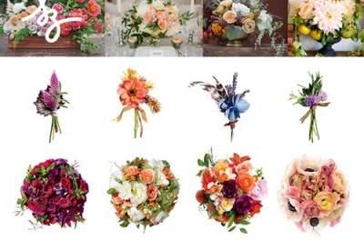 Collage de inspiración con flores para tu boda