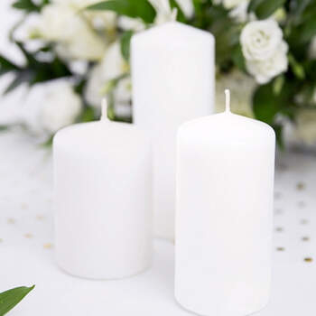 Vela decorativa Blanca Grande 6 Unidades- Compra en The Wedding Shop