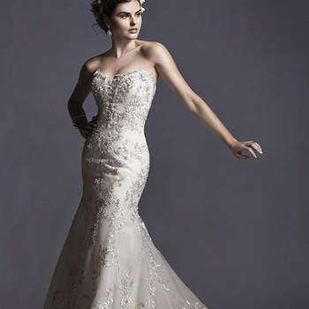 """Vestido de novia con aplicaciones de encaje y confeccionado en tul, de corte sirena y con escote corazón. La falda amplia sigue su forma hacia una cauda de mucha amplitud.  También disponible en corsé con cierre en la espalda.   <a href=""""http://www.sotteroandmidgley.com/dress.aspx?style=5SR049LU"""" target=""""_blank"""">Sottero and Midgley Spring 2015</a>"""