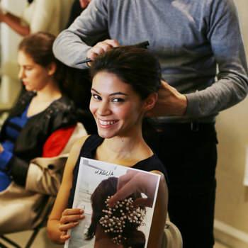 Backstage du défilé Oscar de la Renta à la  Bridal Week de New York, l'un des rendez-vous phares de la mode nuptiale.