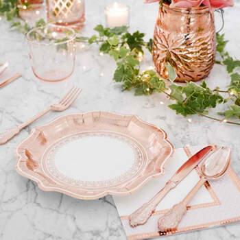 Platos Medianos Rosa Oro 12 Unidades- Compra en The Wedding Shop