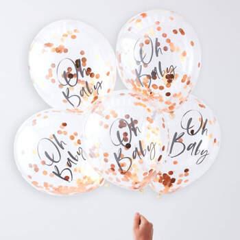 Globos de oro rosa bebé 5 unidades- Compra en The Wedding Shop