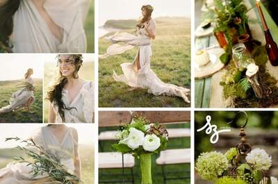 Collage de inspiración para decorar tu boda con naturaleza viva