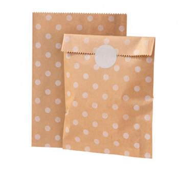 Bolsa con Cierre Color Caramelo con Lunares Blancos 12 Unidades- Compra en The Wedding Shop