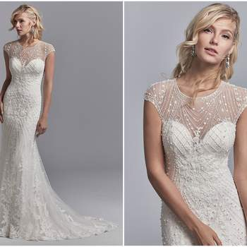 "This vintage-inspired wedding dress features a tulle overlay accented in geometric lace motifs with beading and pearls, creating an illusion jewel over sweetheart neckline, illusion cap-sleeves, and an illusion scoop back. Lined with Inessa Jersey for a luxe fit. Finished with pearl buttons and zipper closure.  <a href=""https://www.maggiesottero.com/sottero-and-midgley/grady/11210?utm_source=zankyou&amp;utm_medium=gowngallery"" target=""_blank"">Sottero and Midgley</a>"