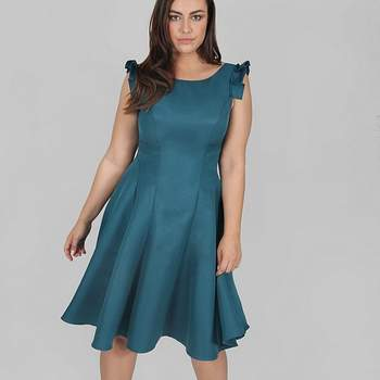 Chi Chi London Teal Blue Skater Dress, Evans
