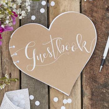 Libro De Firmas Corazón Rústico- Compra en The Wedding Shop