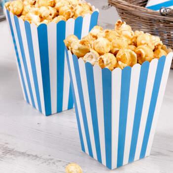 Caja para palomitas azul y blanco 8 unidades- Compra en The Wedding Shop