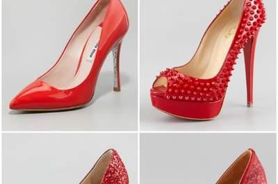Per la sposa di Natale, sì alla scarpa rosso fuoco! Dall'alto a sinistra Miu Miu, Christian Louboutin, Jimmy Choo, Valentino.