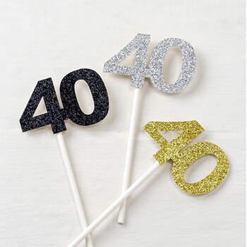Palitos 40 años Purpurina 12 unidades- Compra en The Wedding Shop