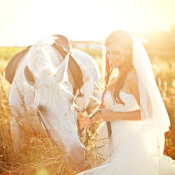 """«Sempre me fascinaram as fotos de noivas e cavalos, fazem parte de um imaginário feminino de puro romantismo e contos """"viveram felizes para sempre"""". A linguagem corporal e o olhar terno e sereno envolvem-nos nesse ambiente caloroso, sensorial e de sonho.»  www.momentocativo.com"""
