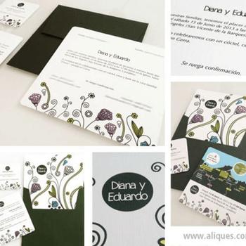 Sencilla pero muy original. Aliques te ofrece tarjetas de invitación totalmente personalizadas pero dándole siempre un toque sencillo y diferente.