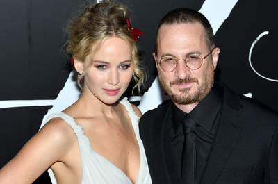 L-R: Actress Jennifer Lawrence and director Darren Aronofsky attend the NY premiere of Mother! at Radio City Music Hall in New York, NY on September 13, 2017.  (Photo by Stephen Smith/SIPA USA) *** Local Caption *** 21060827