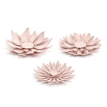 Set de 3 flores decorativas de mesa de color rosa - The Wedding Shop