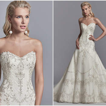 "Embroidered lace motifs and Swarovski crystals dance over this tulle and Soft Shimmer Satin A-line wedding gown, featuring a strapless sweetheart neckline, illusion scoop back accented in beaded lace motifs, and crosshatch detail through the hemline. Finished with crystal buttons over zipper closure.  <a href=""https://www.maggiesottero.com/sottero-and-midgley/granger/11213?utm_source=zankyou&amp;utm_medium=gowngallery"" target=""_blank"">Sottero and Midgley</a>"