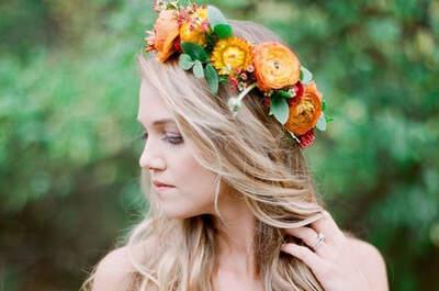 Peinados de novia con cabello suelto. ¡Luce tu melena natural!