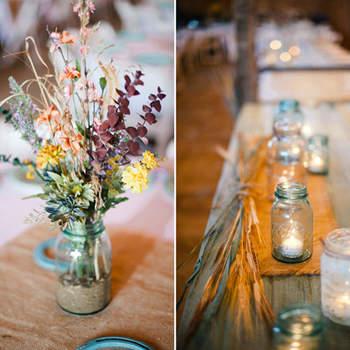 Rustykalne dekoracje weselnego stołu.