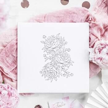 Livre D'or Pivoines Blanc Et Argent - The Wedding Shop !