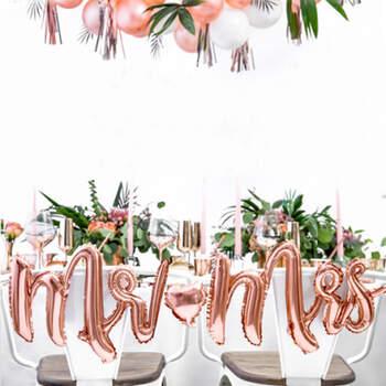 Globo Mr e Mrs Rosa Oro- Compra en The Wedding Shop