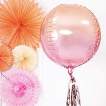 Ballon Foil Sphérique Holographique Orange Et Rose - The Wedding Shop !