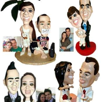 Cake topper in plastilina che riproducono in maniera caricaturale la fisionomia degli sposi