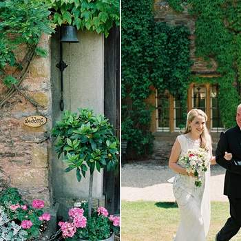 Detalle del lugar de celebración de esta boda y la novia junto a su padre.