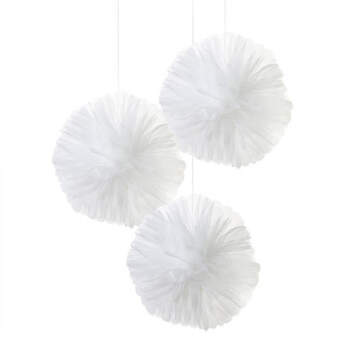 Pom pon de tul blanco 3 unidades - Compra en The Wedding Shop