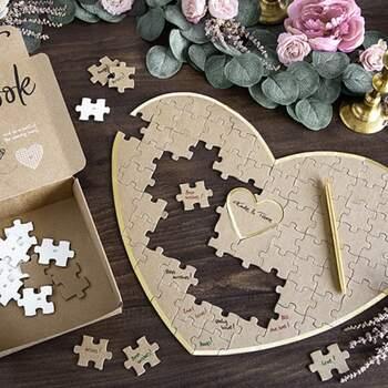 Livre D'or Cœur Or Puzzle - The Wedding Shop !