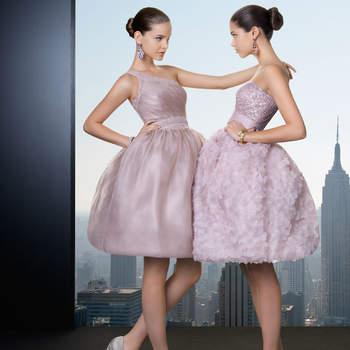 """Due modelli corti con corpetto aderente e gonna a palloncino ricamata  <a href=""""http://zankyou.9nl.de/vve6"""" target=""""_blank"""">Scopri la nuova collezione di Rosa Clarà 2015</a>"""