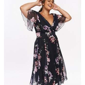 Scarlett _ Jo Navy Angel Sleeve Floral Midi Dress, Evans