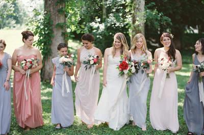 Vestidos de diferentes colores para tus damas de boda: La tendencia más chic del 2016