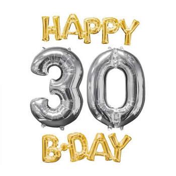 Set globos Happy B-Day 30 oro y plata