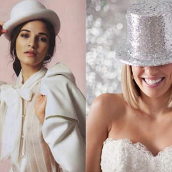 De gauche à droite, chapeau de Roza Gough, Vogue Russie 2011 et chapeau gris par Jenna McKenzie. Photo : confesionesdeunaboda.blogspot.com