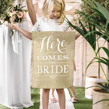 Letrero viene la novia. Compra en The Wedding Shop.