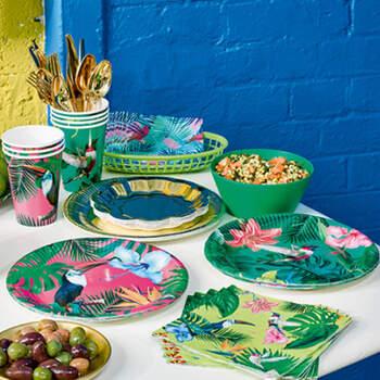 Platos fiesta tropical 12 unidades- Compra en The Wedding Shop