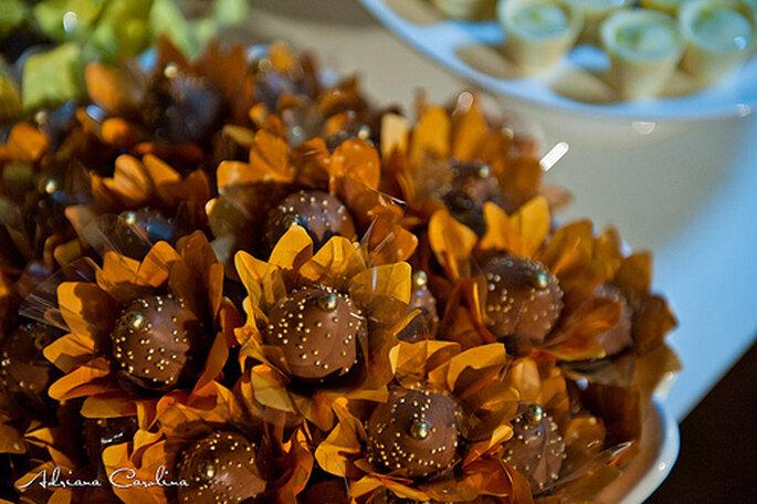 Chocolates decorados en forma de girasol. Foto: Adriana Carolina