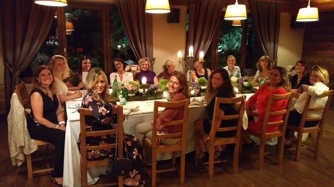 La prima cena tutte insieme presso l'Hotel QC Terme Monte Bianco
