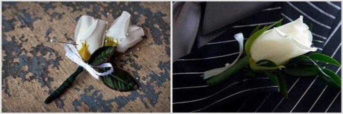 Boutonniers con flores de tela o naturales. Fotos: Flickr - Meddygarnet y Trumanlo