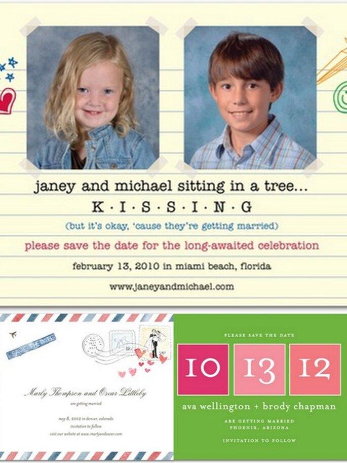 Save the Dates em papel - www.weddingpaperdivas.com