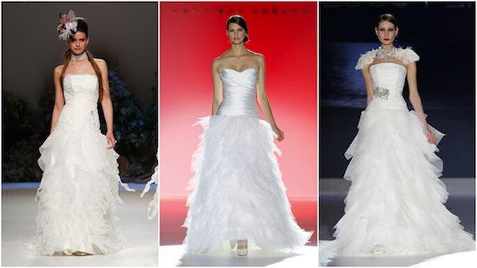 Vestido de novia estrella para la temporada 2013: straplles y falta 'multipañuelos'. Modelos de Inmaculada García, Hannibal Laguna y Jesús Peiró.
