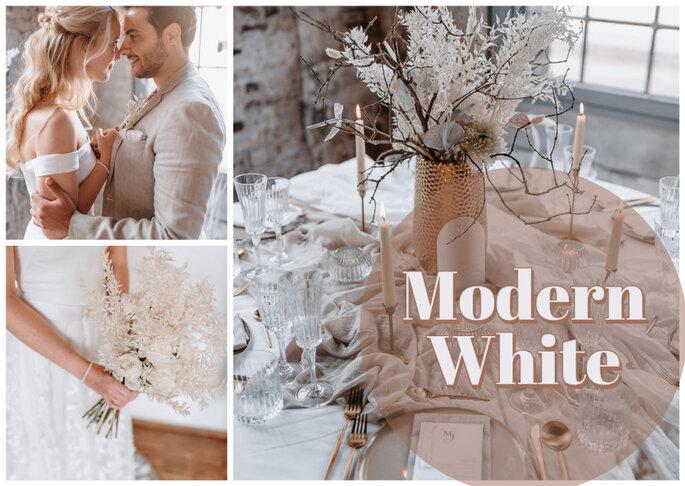 modern weiss Hochzeitskonzept